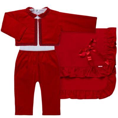 Imagem 1 do produto Saída Maternidade para bebe Amelie: Bolero + Body longo + Mijão + Manta - Roana