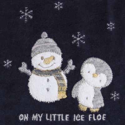 Imagem 2 do produto Macacão longo c/ capuz para bebe em plush Ice Penguim - Anjos Baby - AB171176.040 Macacão Longo Masc plush Marinho -P