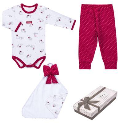 Imagem 1 do produto Kit Maternidade para bebe Noblesse: Body longo + Calça (mijão) + Naninha em suedine - Dedeka - DDK16062 Kit Body Longo com Calça e Naninha Noblesse-P