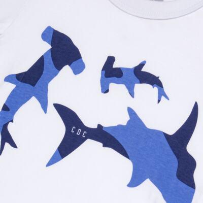 Imagem 3 do produto Camiseta com Bermuda em tactel Shark - Cara de Criança - KIT 1 2311 CCA+BT TUBARAO-4