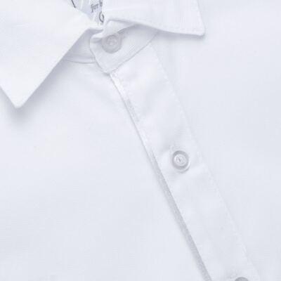 Imagem 4 do produto Jardineira Gravata e Boné para bebe em tricoline Branca - Sylvaz - SZ361 CONJUNTO CURTO C/ GRAVATA BORBOLETA E CHAPÉU BRANCO-M