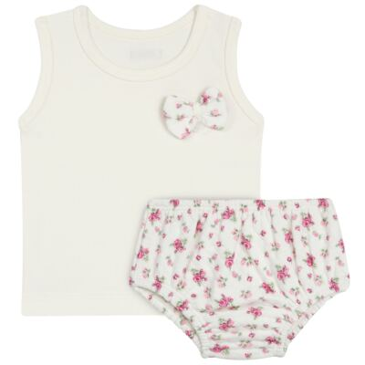 Imagem 1 do produto Regata com Cobre fralda  para bebe em suedine Florale - Grow Up - 04070049.0004 RGTA C/ FRALDA FLOWERY CREME -M