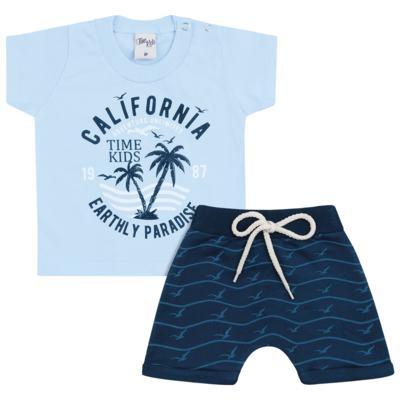 Imagem 1 do produto Camiseta com Bermuda para bebe California azul - Time Kids - TK5112.AZ CONJUNTO CAMISETA C/SHORTS PARADISE AZUL-G