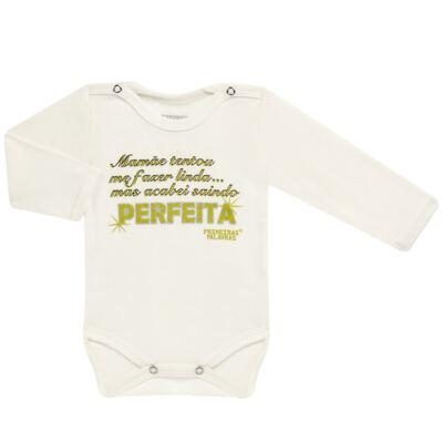 Imagem 1 do produto Body longo para bebe em suedine Perfeita - Primeiras Palavras - PP1511 PERFEITA CRU ML-P