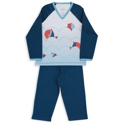 Imagem 2 do produto Pijama longo para bebe em suedine Little Fish - Dedeka - DDK18204/L08 PIJAMA MEIA MARINHO -3