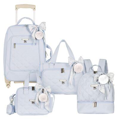 Imagem 1 do produto Mala maternidade com Rodízio + Bolsa Anne + Bolsa térmica organizadora + Mochila Soldadinho Azul - Masterbag