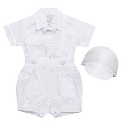 Imagem 1 do produto Jardineira Gravata e Boné para bebe em tricoline Branca - Sylvaz - SZ361 CONJUNTO CURTO C/ GRAVATA BORBOLETA E CHAPÉU BRANCO-P