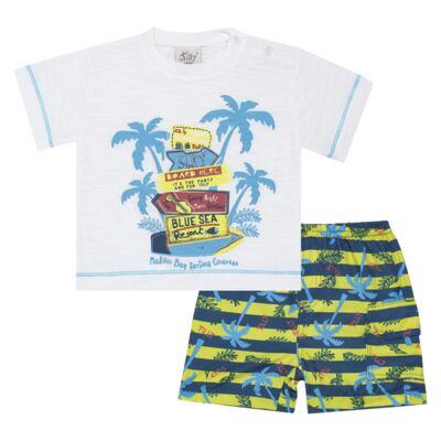 Imagem 1 do produto Camiseta c/ Bermuda em malha Maverick - Tilly Baby - TB166303 CONJ MASC TACTEL COQUEIROS-2
