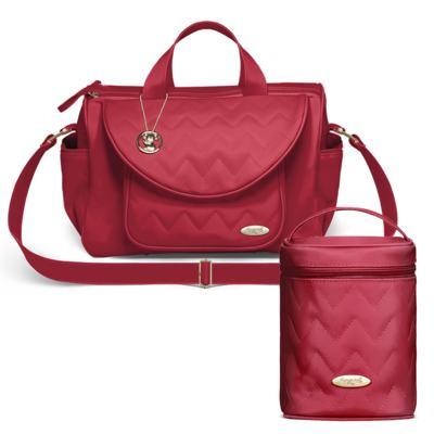 Imagem 1 do produto Bolsa maternidade para bebe Gênova + Frasqueira Térmica Firenze Chevron Rubi - Classic for Baby Bags