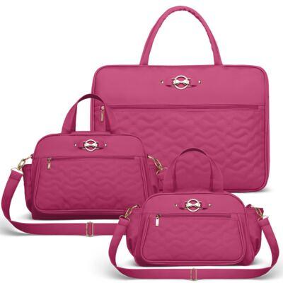 Imagem 1 do produto Mala Maternidade para bebe + Bolsa Liverpool + Frasqueira Térmica Melrose Laços Matelassê Pink - Classic for Baby Bags