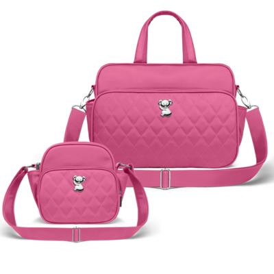 Kit Bolsa maternidade para bebe Montserrat + Frasqueira Térmica Guadalupe Colors Pink - Classic for Baby Bags