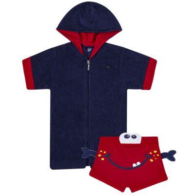 Imagem 1 do produto Conjunto de Banho para bebe Carangueijo: Roupão + Sunga - Cara de Criança - KIT 1 2903: SBB2903+ROB2903 SUNGA BB E ROUPAO CARANGUEIJO-P