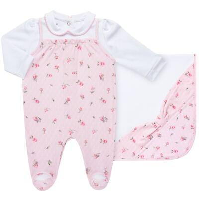 Imagem 1 do produto Jogo Maternidade com Macacão e Manta em algodão egípcio Flora - Bibe - 39Z06-G78 CJ MATERNIDADE FLORES-RN