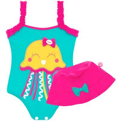 Imagem 1 do produto Conjunto de banho Jellyfish: Maiô + Chapéu - Cara de Criança - KIT1-1264: MB1264 MAIO + CH1264 CHAPEU AGUA VIVA-P