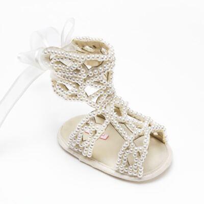 Imagem 3 do produto Sandália Gladiadora para bebe Pérolas Marfim - Roana - GLA00001031 Sandália Gladiadora Marfim -P