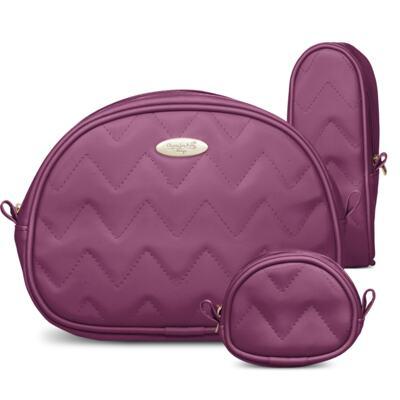 Imagem 4 do produto Mala Maternidade para bebe + Bolsa Gênova + Frasqueira Térmica Nápoli + Kit Acessórios Chevron Ametista - Classic for Baby Bags