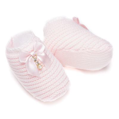 Imagem 3 do produto Sapatinho para bebe em tricot Laço Strass & Pérolas Rosa - Roana - STD00038046 Sapato em Tricot Detalhe Laço Rosa