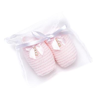 Imagem 4 do produto Sapatinho para bebe em tricot Laço Strass & Pérolas Rosa - Roana - STD00038046 Sapato em Tricot Detalhe Laço Rosa