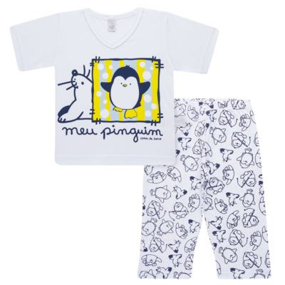 Imagem 1 do produto Pijama curto em malha Pinguinzinho - Cara de Sono