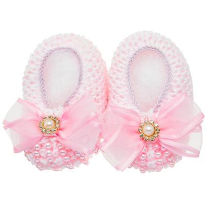 Imagem 1 do produto Sapatinho para bebe em tricot Laço Strass & Pérolas Rosa - Roana - STD00142046 Sapato Tricot Pérolas Rosa