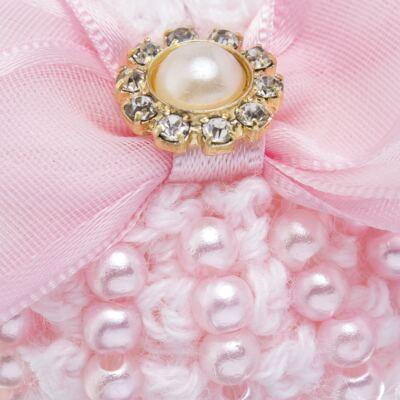 Imagem 2 do produto Sapatinho para bebe em tricot Laço Strass & Pérolas Rosa - Roana - STD00142046 Sapato Tricot Pérolas Rosa