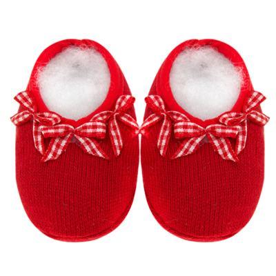 Imagem 1 do produto Sapatinho para bebe em tricot Laço Vermelho - Mini Sailor - 50134263 Sapatinho c/ Laços Tricot Verm. Es