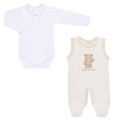 Imagem 2 do produto Jardineira c/ Body longo para bebê em tricot Nature Little Friends - Mini & Classic - 1606650 JARDINEIRA C/ BODY TRIC/SUED NATURE-RN