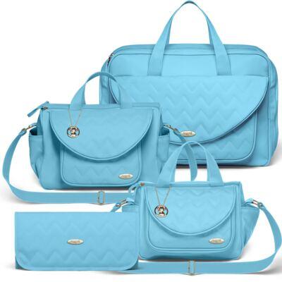 Imagem 1 do produto Mala Maternidade para bebe  + Bolsa Gênova + Frasqueira Térmica Nápoli + Trocador Portátil Chevron Turmalina - Classic for Baby Bags