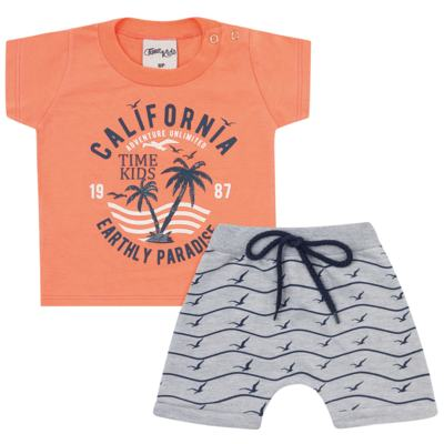 Imagem 1 do produto Camiseta com Bermuda para bebe California orange - Time Kids - TK5112.LR CONJUNTO CAMISETA C/SHORTS PARADISE LARANJA-G