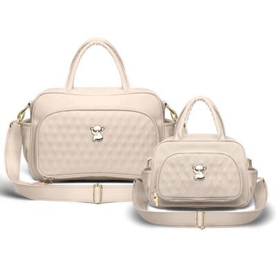 Imagem 1 do produto Kit Bolsa maternidade para bebe Veneza + Frasqueira Térmica Milão Golden Koala Caqui - Classic for Baby Bags