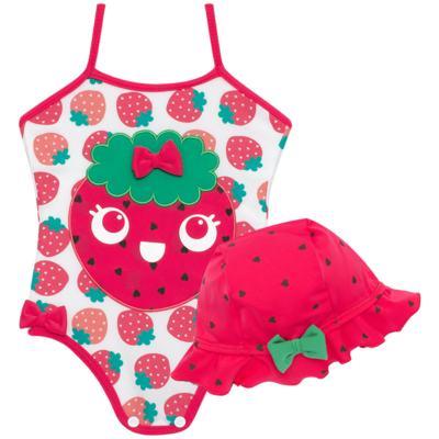 Imagem 1 do produto Conjunto de banho Strawberry: Maiô + Chapéu - Cara de Criança - KIT1-1253: MB1253 MAIO + CH1253 CHAPEU MORANGUINHO-P