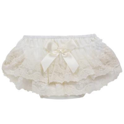 Imagem 1 do produto Calcinha para bebê em tricoline Renda & Laço Marfim - Roana - CLES0032031 Calcinha Especial Marfim-M