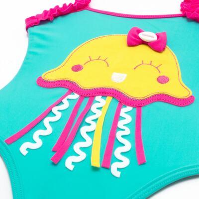 Imagem 3 do produto Conjunto de banho Jellyfish: Maiô + Chapéu - Cara de Criança - KIT1-1264: MB1264 MAIO + CH1264 CHAPEU AGUA VIVA-G