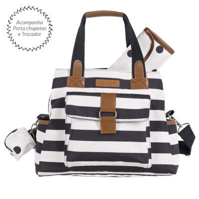 Imagem 3 do produto Mala Maternidade com rodízio + Bolsa Kate + Bolsa Everyday Brooklyn Black and White - Masterbag