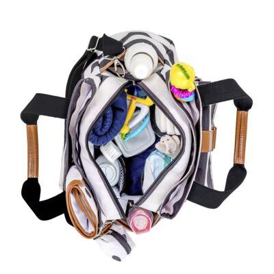 Imagem 4 do produto Mala Maternidade com rodízio + Bolsa Kate + Bolsa Everyday Brooklyn Black and White - Masterbag