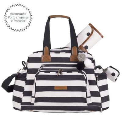 Imagem 5 do produto Mala Maternidade com rodízio + Bolsa Kate + Bolsa Everyday Brooklyn Black and White - Masterbag