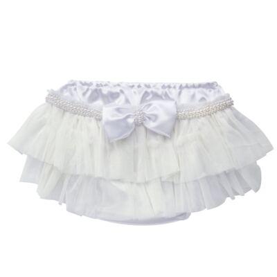 Imagem 1 do produto Calcinha para bebê Cetim Laço Tule & Pérolas Branca - Roana - CLES0033001 Calcinha Especial Branco-P