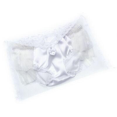 Imagem 3 do produto Calcinha para bebê Cetim Laço Tule & Pérolas Branca - Roana - CLES0033001 Calcinha Especial Branco-P