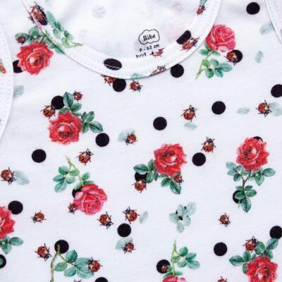 Imagem 3 do produto Regata com Cobre Fralda para bebe em algodão egípcio Ladybug - Bibe - 38G02-G45 CJ Curto Regata c/ Cobre Fralda Floral-GG