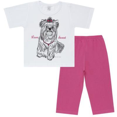 Imagem 1 do produto Pijama Curto em malha Cachorrinha - Cara de Sono - C2005 DOG LOVE C PJ-MG CURTA C/CALCA M/MALHA-1