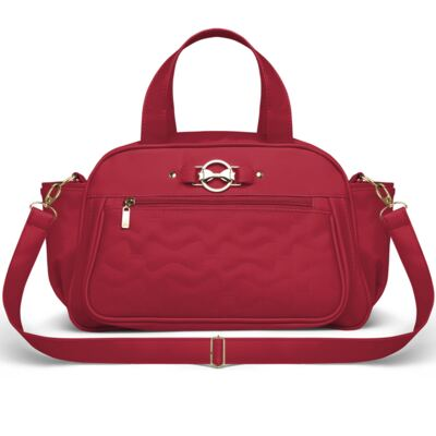 Imagem 4 do produto Mala Maternidade para bebe + Bolsa Liverpool + Frasqueira Térmica Melrose + Térmica Firenze + Trocador Laços Matelassê Cereja - Classic for Baby Bags