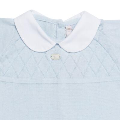 Imagem 3 do produto Jogo Maternidade com Macacão e Manta em tricot Bleu - Petit - 47104420 Jogo Maternidade c/ Gola Tricot/Fus Azul -P