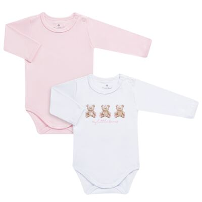 Imagem 1 do produto Pack: 02 Bodies longos para bebe em algodão egípcio c/ jato de cerâmica Princess Bear - Mini & Classic - 1023655 PACK 2 BODIES ML SUEDINE URSA-P