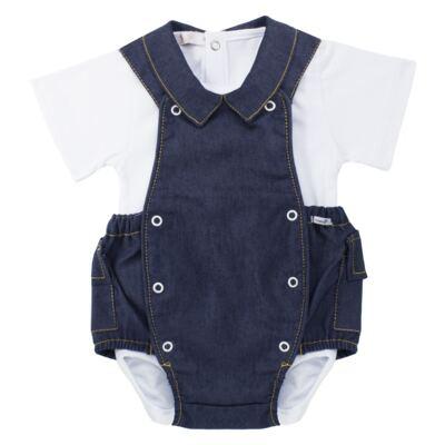 Imagem 1 do produto Jardineira c/ Body curto para bebe em fleece Denim - Roana - 11442034493 Jardineira com Body Jeans-P
