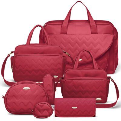 Imagem 1 do produto Mala Maternidade para bebe + Bolsa Turin + Frasqueira Térmica Trento + Térmica Firenze + Kit Acessórios Chevron Rubi - Classic for Baby Bags