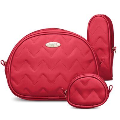 Imagem 5 do produto Mala Maternidade para bebe + Bolsa Turin + Frasqueira Térmica Trento + Térmica Firenze + Kit Acessórios Chevron Rubi - Classic for Baby Bags