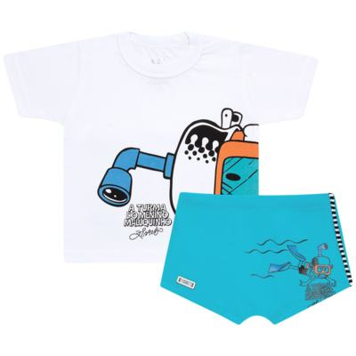 Imagem 1 do produto Conjunto de Banho Maluquinho Mergulhador: Camiseta + Sunga - Cara de Criança - KIT1-1308: SB1308 SUNGA + CCA1308 CAMISETA PIRATA MALUQUINHO-4