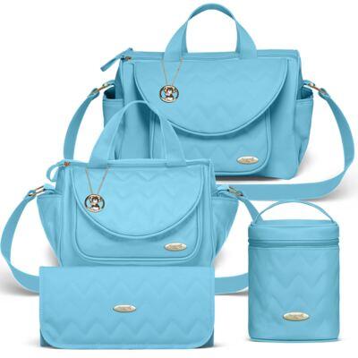 Imagem 1 do produto Bolsa maternidade para bebe Gênova + Frasqueira Térmica Nápoli + Frasqueira Térmica Firenze + Trocador Chevron Turmalina - Classic for Baby Bags