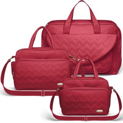 Imagem 1 do produto Mala Maternidade para bebe + Bolsa Turin + Frasqueira Térmica Trento Chevron Rubi - Classic for Baby Bags