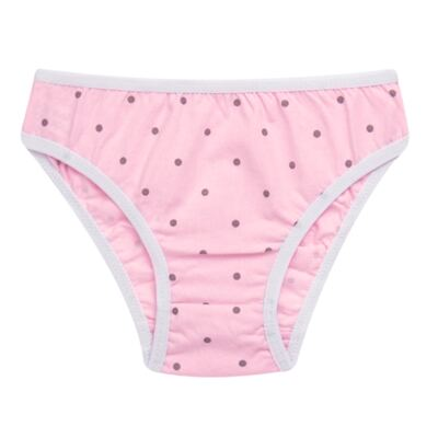 Imagem 2 do produto Kit com 3 Calcinhas Pink Polka Dots - Cara de Criança - KC2403 KIT POA KC3 KIT CALCINHAS 3 PCS M/MALHA-PP